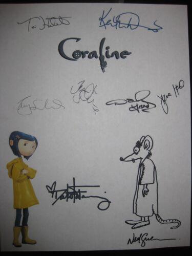 Coraline Signed Movie Script X8 Dakota Fanning Teri Hatcher Keith David reprint