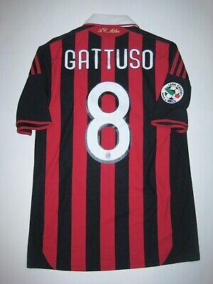 2009-2010 Adidas AC Milan Gennaro Gattuso Jersey Kit Short Sleeve Home Shirt