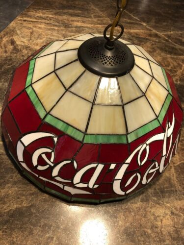 Vintage Style Tiffany Coca Cola Stained Glass Hanging Light.