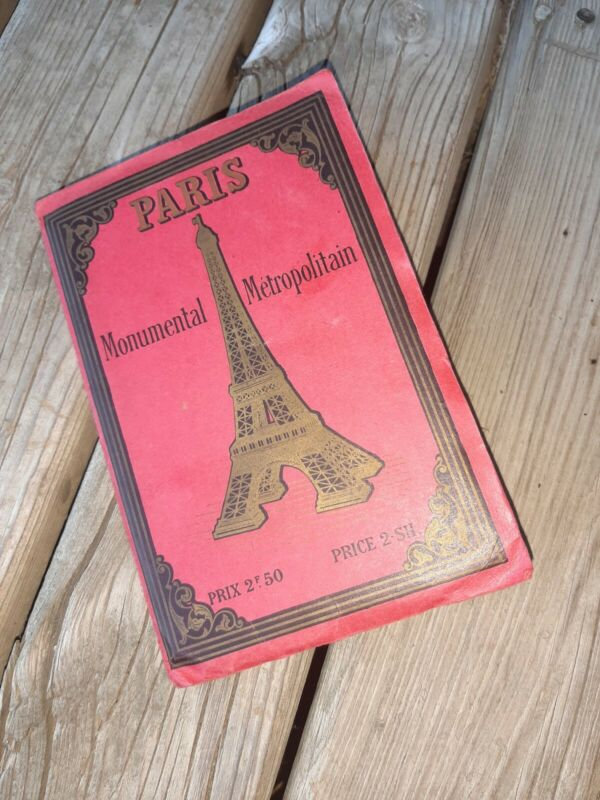 VINTAGE 1918 PARIS MONUMENTS METROPOLITAN CITY FOLD MAP WWI EIFFEL VERSAILLES