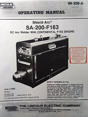 Lincoln Sa-200 Dc Welder Owner Parts Service Manual Pipeliner Gas Engine 1969