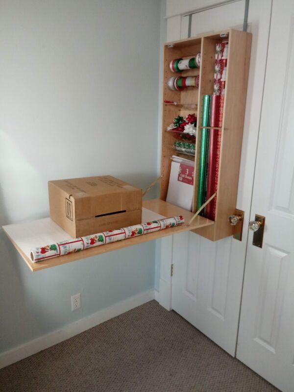 solid wood over the door customizable gift wrap organizer