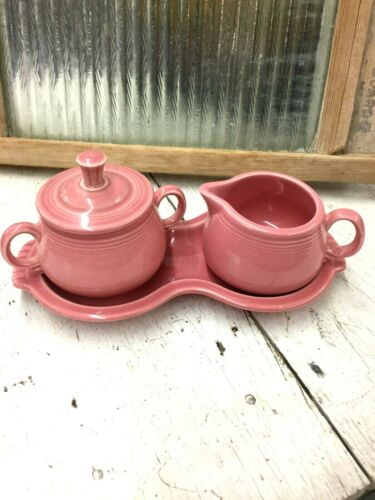 Fiesta Rose Pink Homer Laughlin Sugar and  Creamer with Tray  Retired
