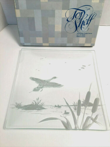 Vintage Rare L.E. Smith Crystal Server Gamebirds Square Plate Original Box