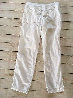 Ann Taylor Loft White Cotton Skinny Drawstring Pants Size 2