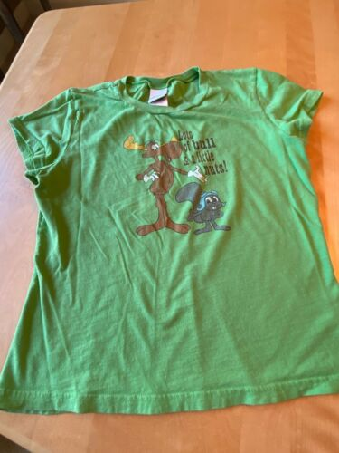 VINTAGE ROCKY BULLWINKLE JERRY LEIGH KID LOTS OF BULL & A LITTLE NUTS SHIRT XL