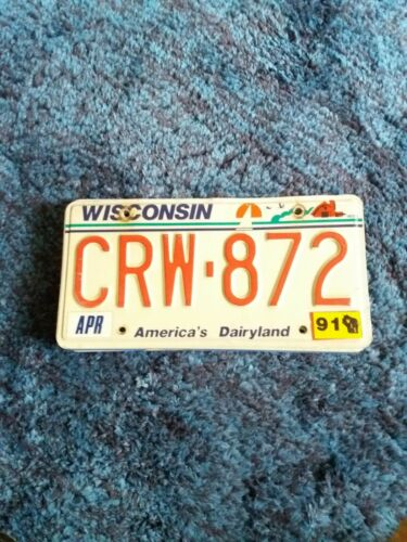 USA NUMMERNSCHILD Original US License Plate  WISCONSIN 1991