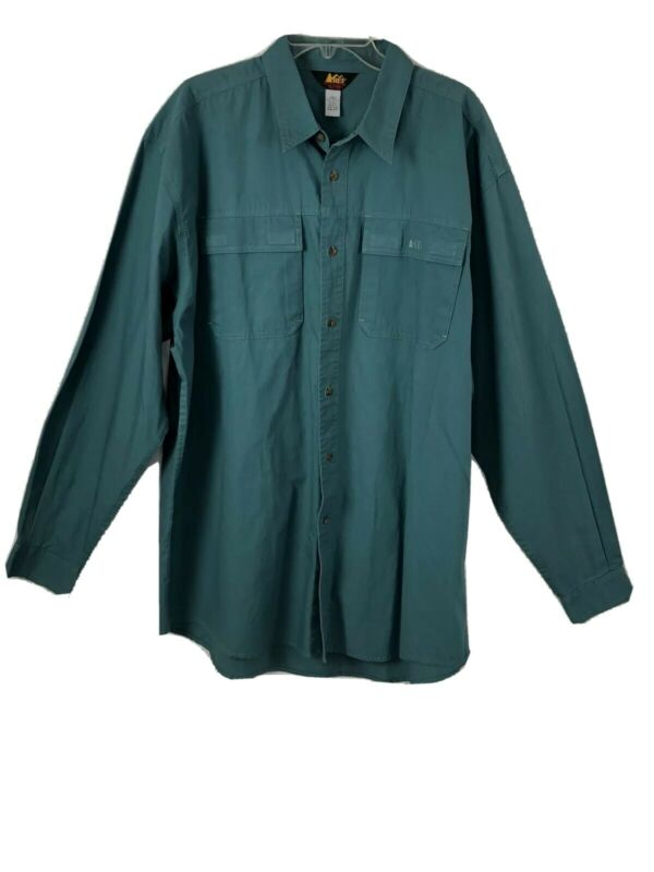 REI Long Sleeve Button Down Shirt Mens Med Tall Outdoor Hiking Camping Hunting
