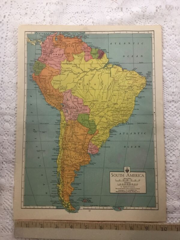 1944 Color Print South America / Atlantic Ocean Map Vintage