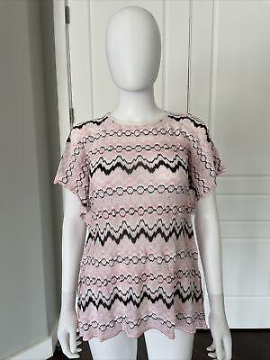 Missoni Kids Pink & Black Cap Sleeve Flutter Sleeve Knit Top 14