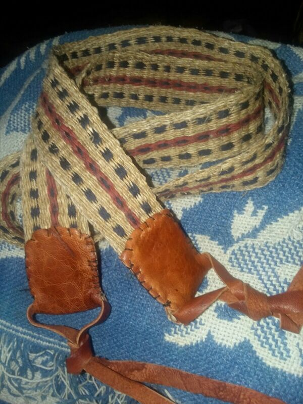 Handwoven powderhorn strap Nettle Wool Reenactor F&I Native Mountain Man  Strap