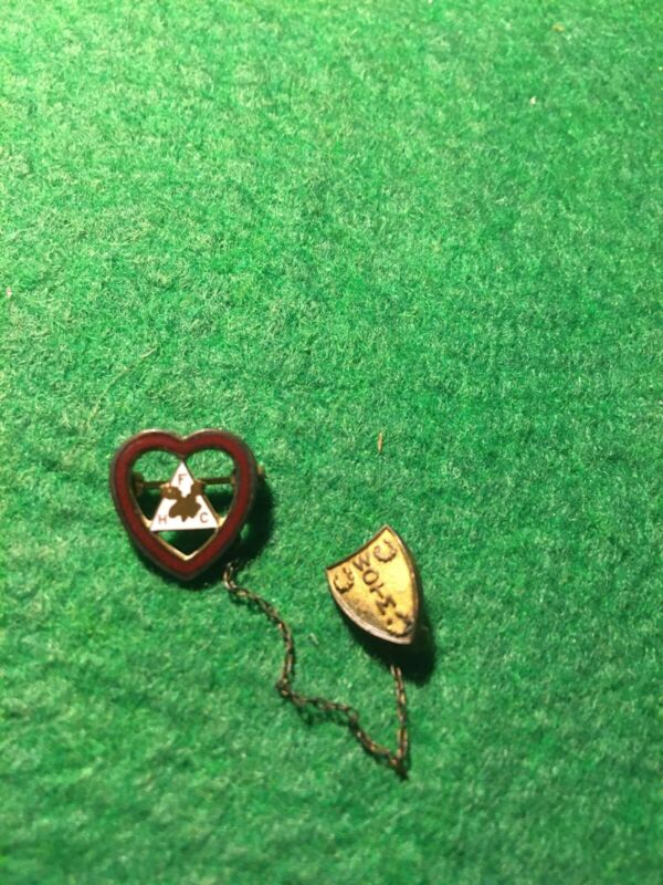 VINTAGE FRATERNITY HEART PIN FHC WOTM LAPEL PIN WITH CHAIN MOOSE ORGANIZATION