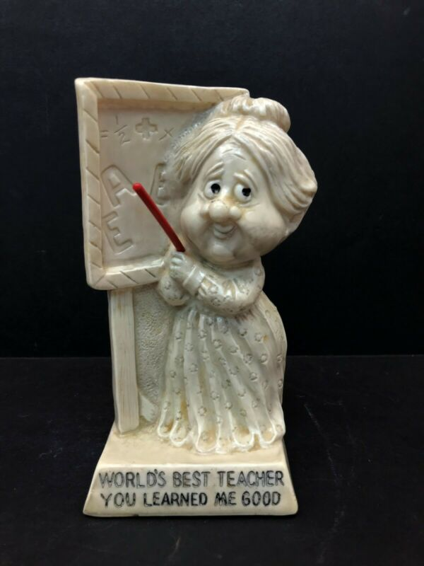Vintage R W Berries 1972 Statue Worlds Best Teacher You Learned Me Good USA