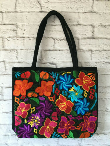 Handmade Floral Embroidered Mexican Tote Bag Large Purse Handbag Bolsa Mexicana