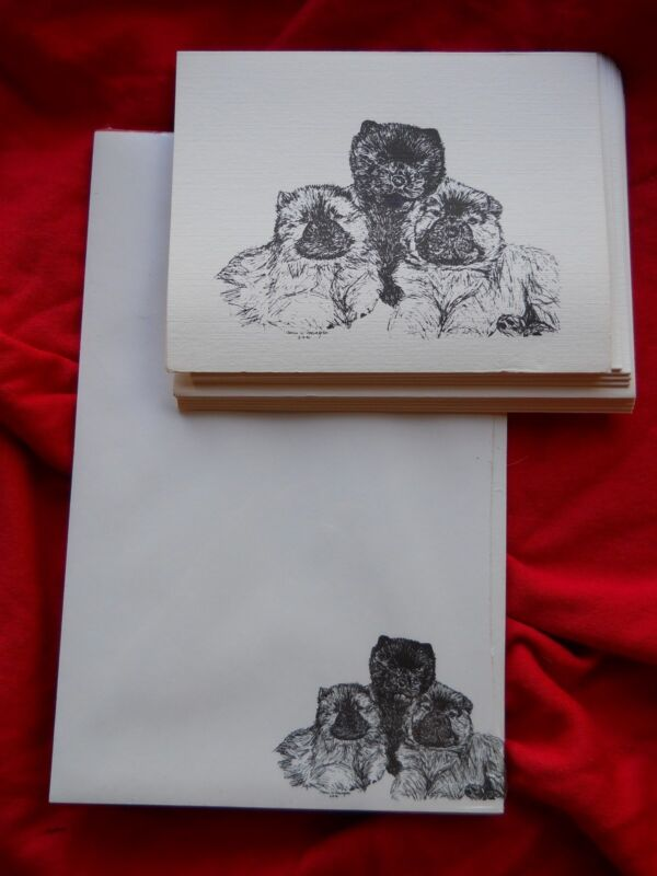 Chow Puppy Trio 2 Piece Set-Notepad,6 Blank Notecards and Envelopes New