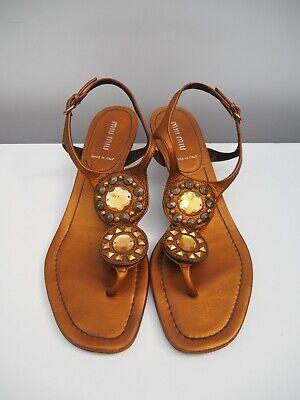 MIU MIU * Studded leather jeweled sandals * Size 39 - US 9