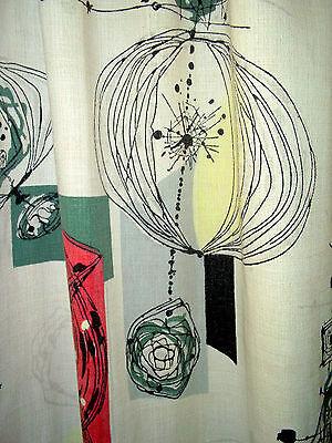 Vintage Eames era barkcloth atomic sputnik cotton curtain drape fabric panel!
