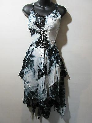 Dress XL 1X 2X Plus Black White Tie Dye Corset Layered Whimsical Hem NWT ZA426](Whimsical Dresses)