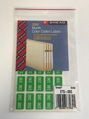 Smead ETS Color-Coded Month Label 67462, December, Light Green, 250 Labels/Pack