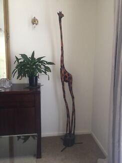 Beautiful Very Tall Wooden Giraffe Home Decor
