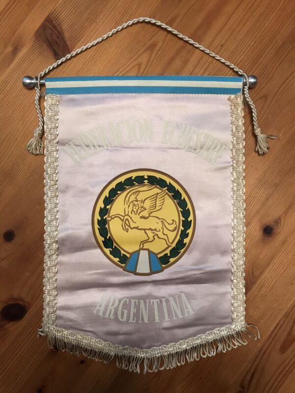 Vintage Argentina Federacion Ecuestre Equestrian Wall Banner Flag