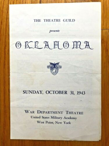 VTG WWII 1943 PLAYBILL WAR DEPARTMENT THEATRE WEST POINT USMA OKLAHOMA MUSICAL