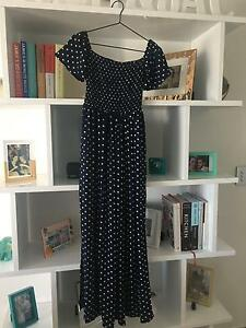 Off the shoulder navy blue spotted dress Merrimac Gold Coast City Preview