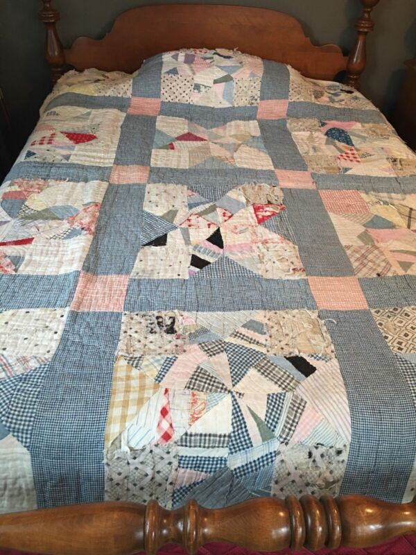 Antique quilt 1800,s Hand Pieced And Sewn North Star Pattern