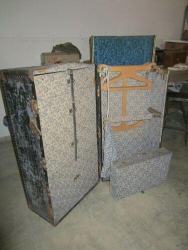 Antique Wardrobe Steamer Travel Trunk w/Accessories