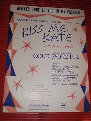 VINTAGE SHEET MUSIC ALWAYS TRUE TO YOU IN MY FASHION KISS ME KATE 1948