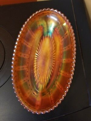 Merigold Carnival Glass Oval Frosted Block Dish Imperial Glass Company