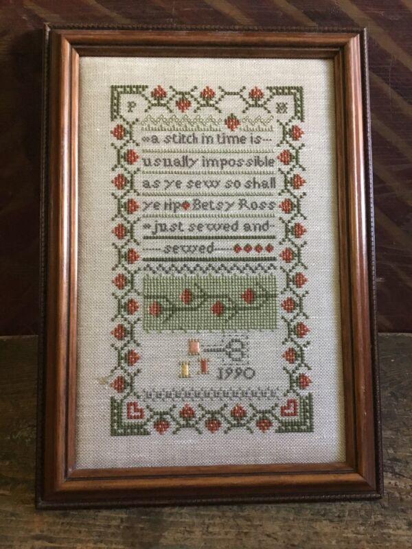 Framed Cross Stitch Sampler ~ Dated 1990 ~ Professionally Framed