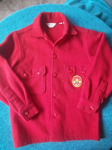 Official Boy Scout red wool-blend jacket shirt used youth size 14 good condition