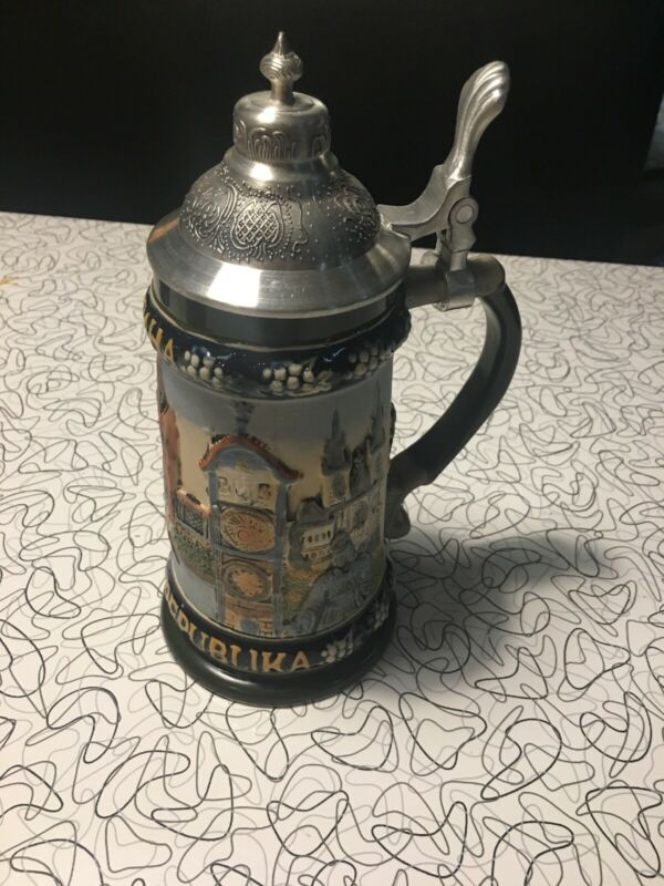 KORBEL Handmade Lidded Beer Stein Praha Ceska Republika Risch-Lau Collectible