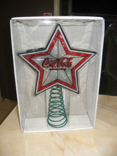 RARE COCA COLA ART GLASS STAINED GLASS STYLE CHRISTMAS TREE TOPPER 2009  - NIB