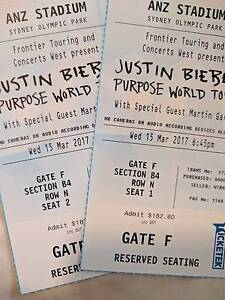 2 A-RESERVE JUSTIN BIEBER TICKETS (SYDNEY) Bayview Pittwater Area Preview