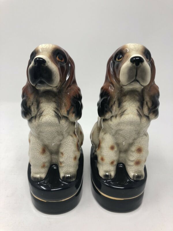 Vintage MCM Takahashi Dog Bookends San Francisco crackle Ceramic
