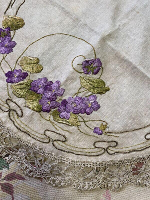 Arts & Crafts Antique Satin Stitched Ecru Round Tablecover Violets Metalwork