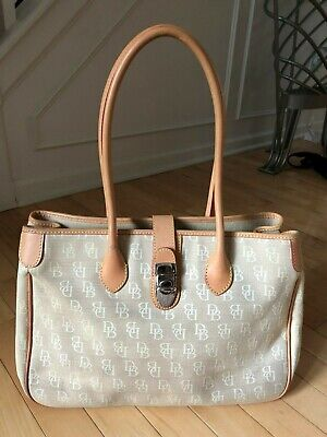 DOONEY AND BOURKE Double Long Handled DB Canvas Tote Beige Tan Brown VERY (Dooney And Bourke Double Long Handle Tote)