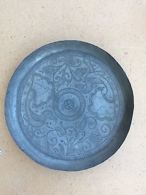 Antique Small Dish Carved Copper Ottoman Syria Decor Characters Animals XIX Xvii