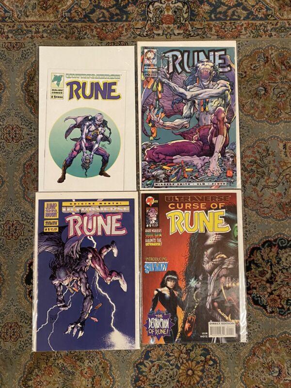 Rune Ashcan & 0 & 1 Malibu Curse Of Rune 1 Ultraverse NM/NM+ 1st App Rune Venom