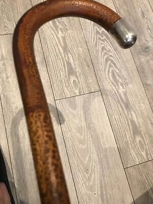 Vintage Unstamped Silver Handle Walking Stick - Wood Very Flexible