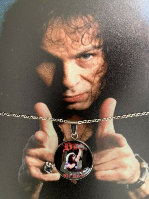 DIO RONNIE JAMES DIO TIN METAL SIGN PLUS A NECKLACE STAINLESS