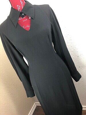 Woman Vintage David Warren Dress 9X677 Sz10 Modest Black Halloween widow Keyhole](Halloween South Korea)
