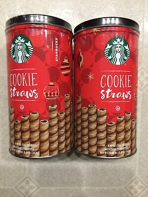 2 New Sealed Tins Starbucks Cookie Straws Chocolaty Rolled Wafers 34 Count Each Chocolate Roll Cookies