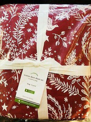 Pottery Barn Winter Dove King Size Sheet Set Organic Cotton New Christmas Red ()