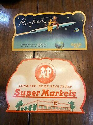 Vintage ROCKET & A&P Paper Sewing Needle Book Case Lot Advertising