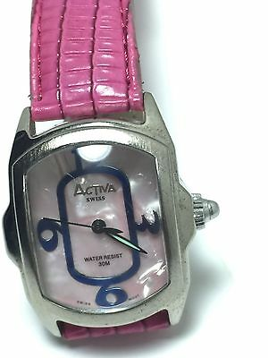 Rectangular Face Activa Swiss Pink Woman's Watch Water Resistant