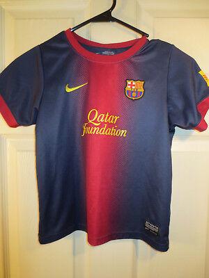 cbd0504db Nike FC BARCELONA FCB JERSEY Soccer Futbol (YOUTH LARGE L) QATAR FOUDATION  MESSI