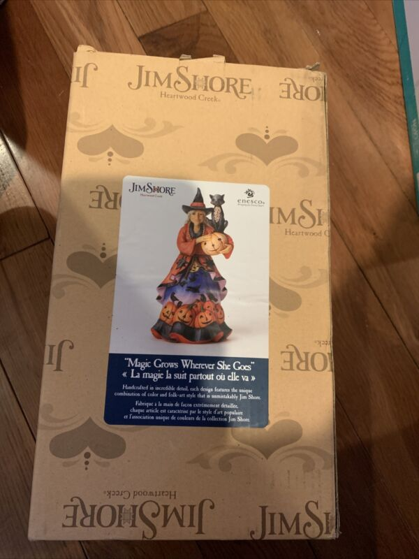 """JIM SHORE-10"""" FRIENDLY WITCH WITH BLACK CAT-""""MAGIC GROWS WHEREVER SHE GOES""""-NIB"""